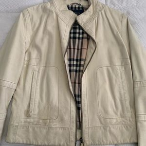 Authentic Burberry 100% Leather Bomber Jacket, US8